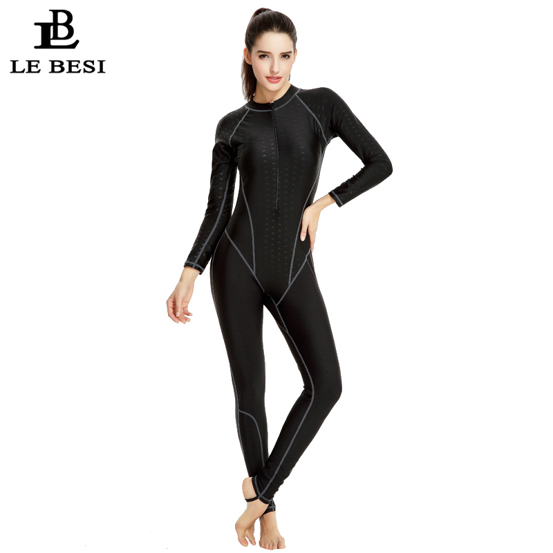 LEBESI 2017 Professional One Piece Swimsuit Longer Pants Swimming Shark Sportswear Women's Swimwear With Sleeves Bodysuit L-3XL