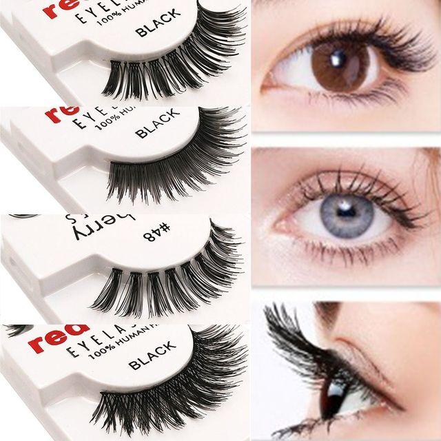 1 Pairs 100% Handmade Natural False Eyelashes 5 Styles Makeup Beauty False Eyelashes New Fashion Women Fake Eye Lashes 2