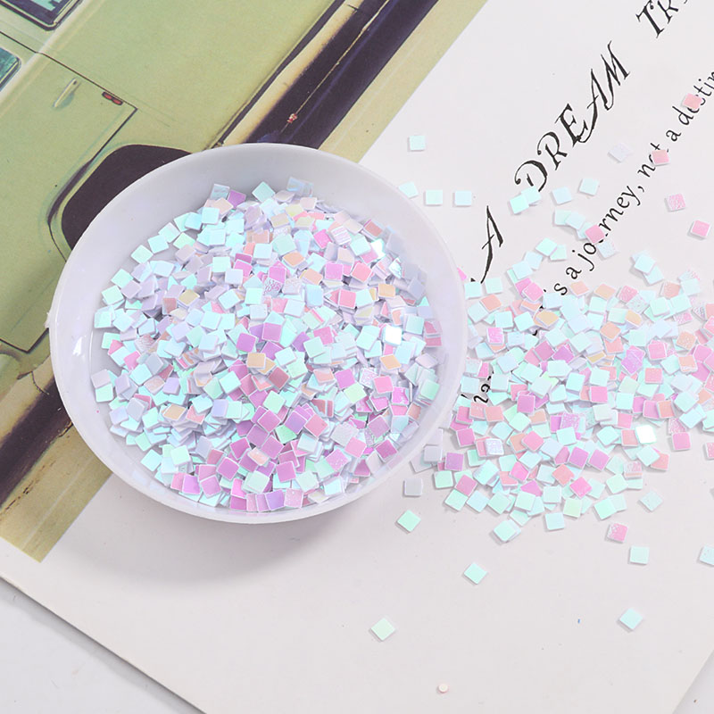 3mm Square Shape PVC Loose Sequins Paillettes For Nail Arts Wedding confetti Craft,Ornamental fillings,Kids DIY Accessories
