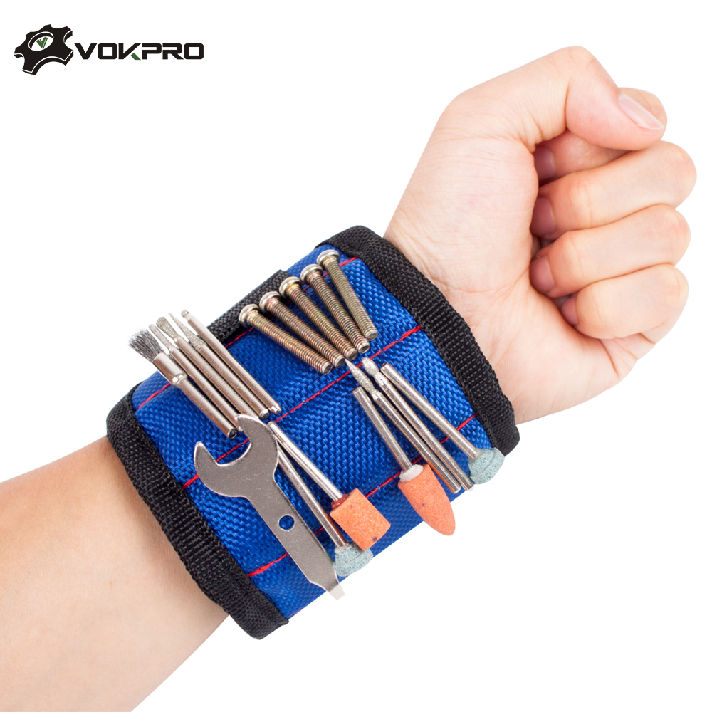 Hilda Strong Magnet Wristband Tool Wrist Bands For Screws Nails Nuts Bolts Adjustable Hand Tool Holder Magnet*5 Free Drill Bit Online Shop Tools