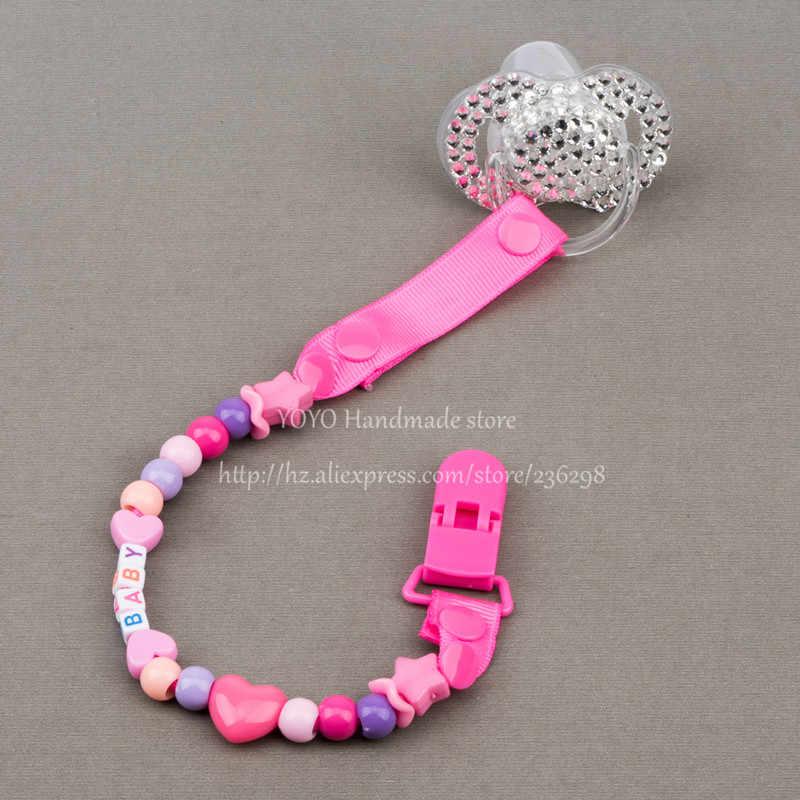 MIYOCAR personalizado-cualquier nombre hecho a mano funnyr rose red beads dummy clip soporte chupete clips chupete cadena para bebé