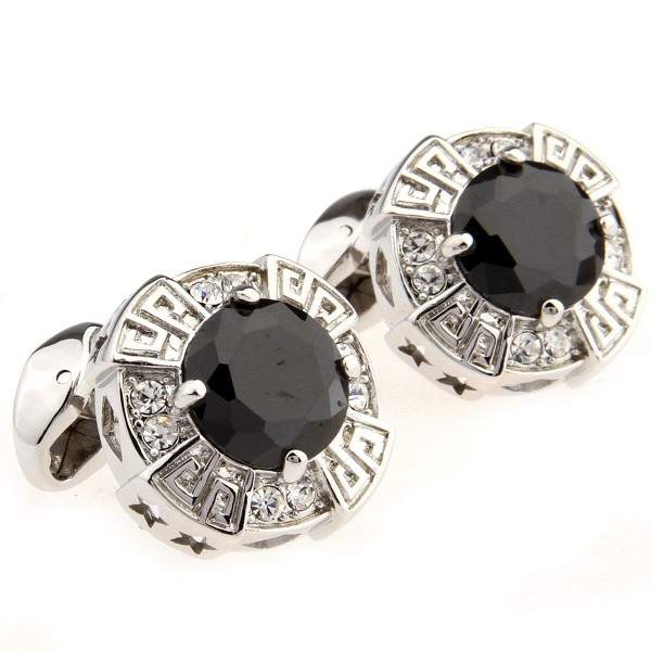 Onyx And Crystal Cufflinks With A Fulted Effect Edding