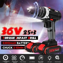 25+3 Torque 36V Cordless Electric Impact Drill Li-ion Battery Screwdriver LED Working Light DIY Home Hand Flat Drill Power Tools(China)