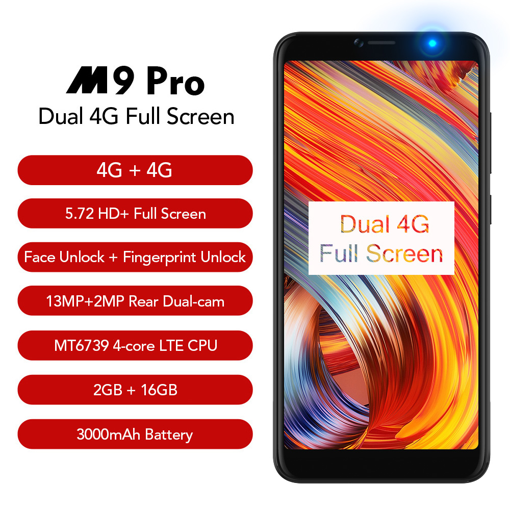 LEAGOO M9 PRO Smartphone 5.72 18:9 Full Screen Face Unlock 2GB RAM 16GB Android 8.1 MT6739V Quad Core Fingerprint Mobile Phone
