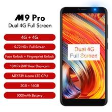 LEAGOO M9 PRO смартфон 5,72 «18:9 полный Экран распознавание лица 2 ГБ Оперативная память 16 ГБ Android 8,1 MT6739V 4 ядра отпечатков пальцев мобильный телефон
