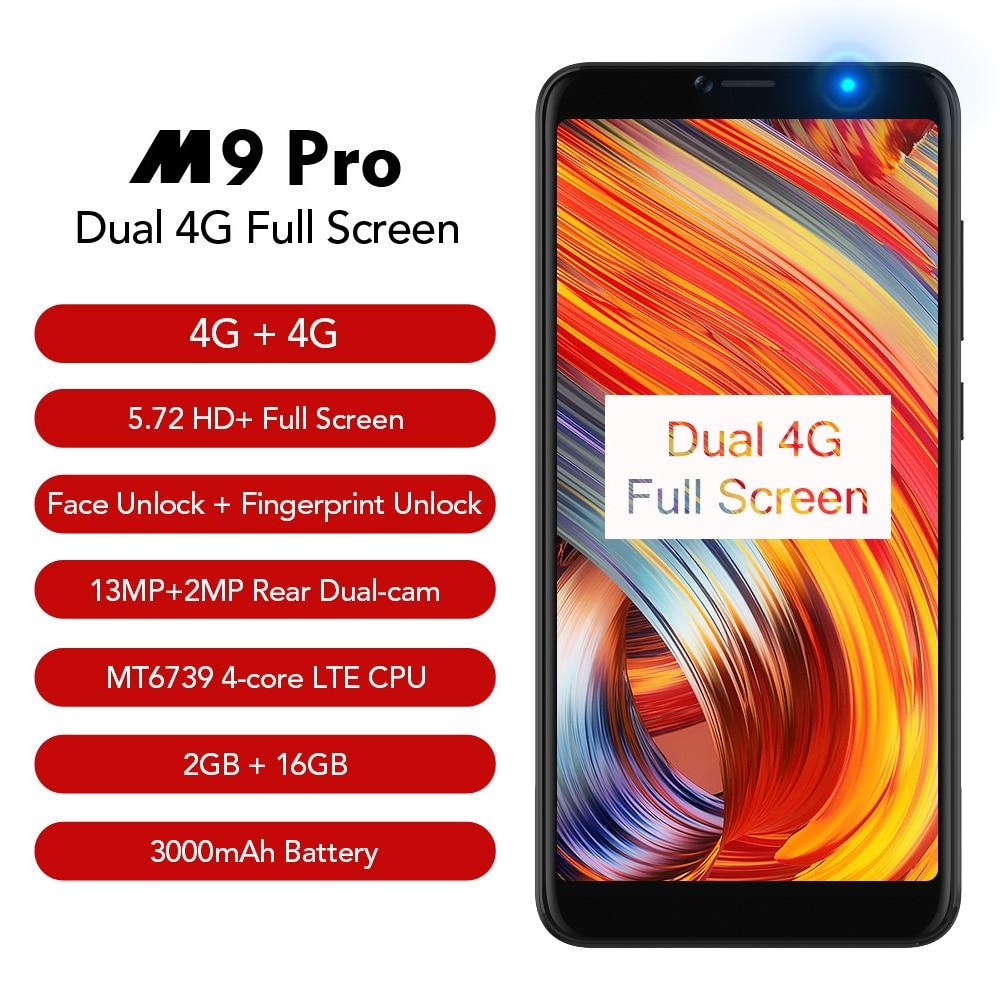 LEAGOO M9 PRO Smartphones 5.72 18:9 Tela Cheia Rosto Unlock 2 gb RAM gb Android 8.1 MT6739V 16 Quad core Impressão Digital de Telefonia móvel