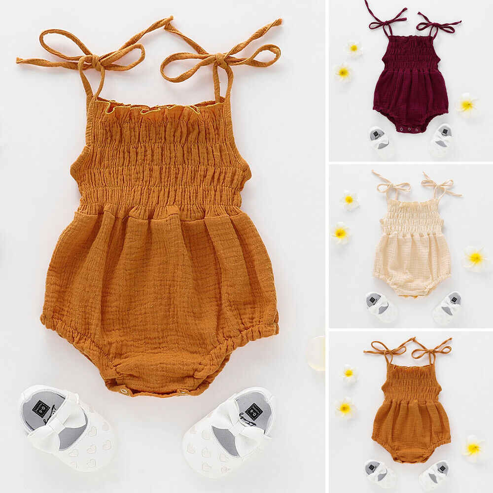 Casual Leuke Pasgeboren Baby Meisjes Kleding Bodysuits Zomer Peuter Solid Lace Up Jumpsuits Kleding Prinses Kids Baby Outfits