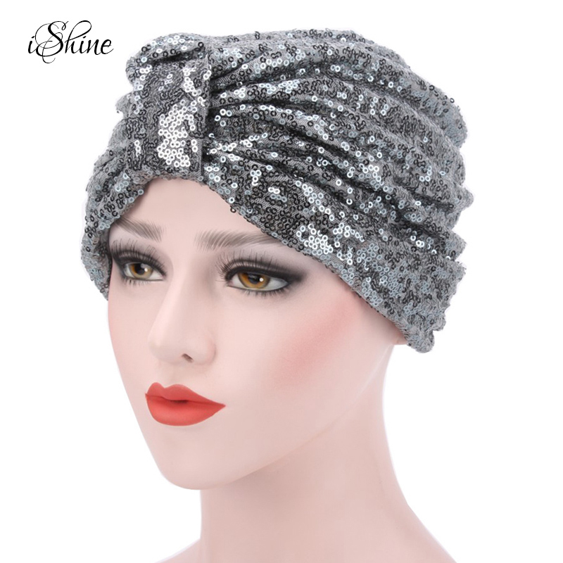 New Women Sequins Muslim Turban Hats Cotton Soft Stretchy Brightness Indian Style Kerchief Beanies Headscarf Confinement Cap Hat
