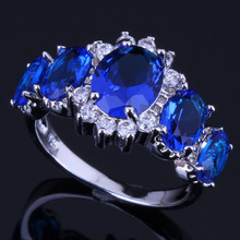 Pleasant Oval Blue Cubic Zirconia White CZ 925 Sterling Silver Ring For Women V0410 alluring oval blue cubic zirconia 925 sterling silver ring for women v0419