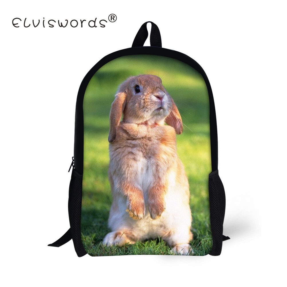 3656c44348b1 ELVISWORDS детей школьные сумки для детей милый кролик печати Для женщин  Дорожные сумки девушки ранцы подростка рюкзак Mochila Escolar