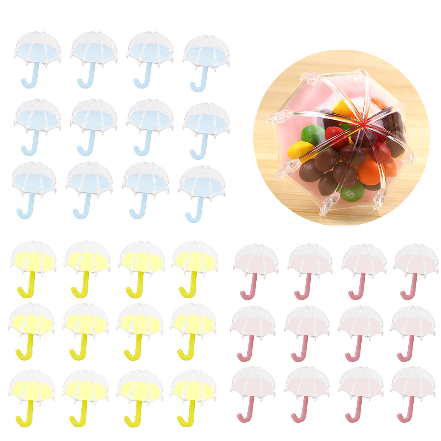 Behogar 12pcs Lovely Clear Umbrella Style Candy Chocolate Boxes Thank You Wedding Favor Gift Box Package Birthday Party Supplies