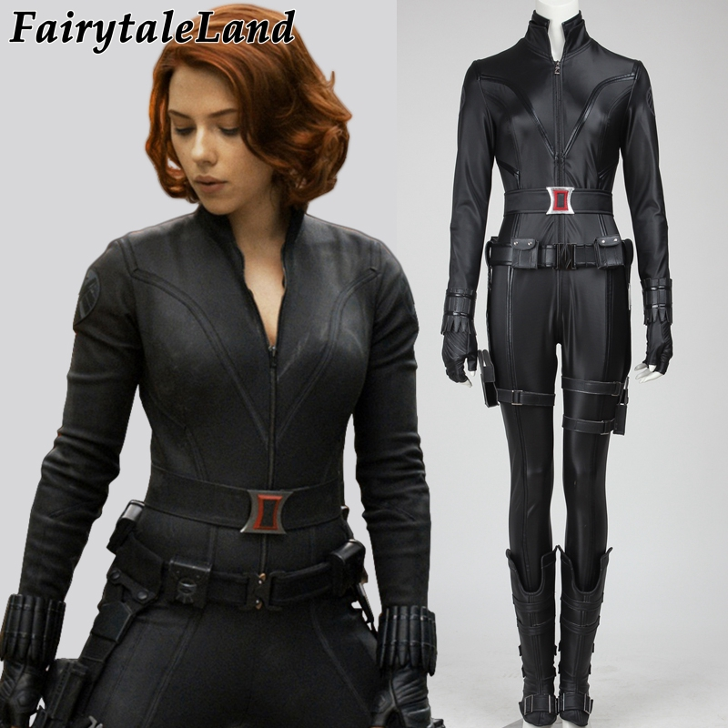 Avengers black widow costume Halloween superhero black widow cosplay leather jumpsuit cosplay Natasha Romanoff costume custom
