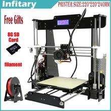 Caliente de Gran tamaño 220*220*240mm de Alta Calidad de Precisión Reprap Prusa i3 3d Filamento impresora DIY kit con 25 M 8 GB de tarjetas SD y LCD