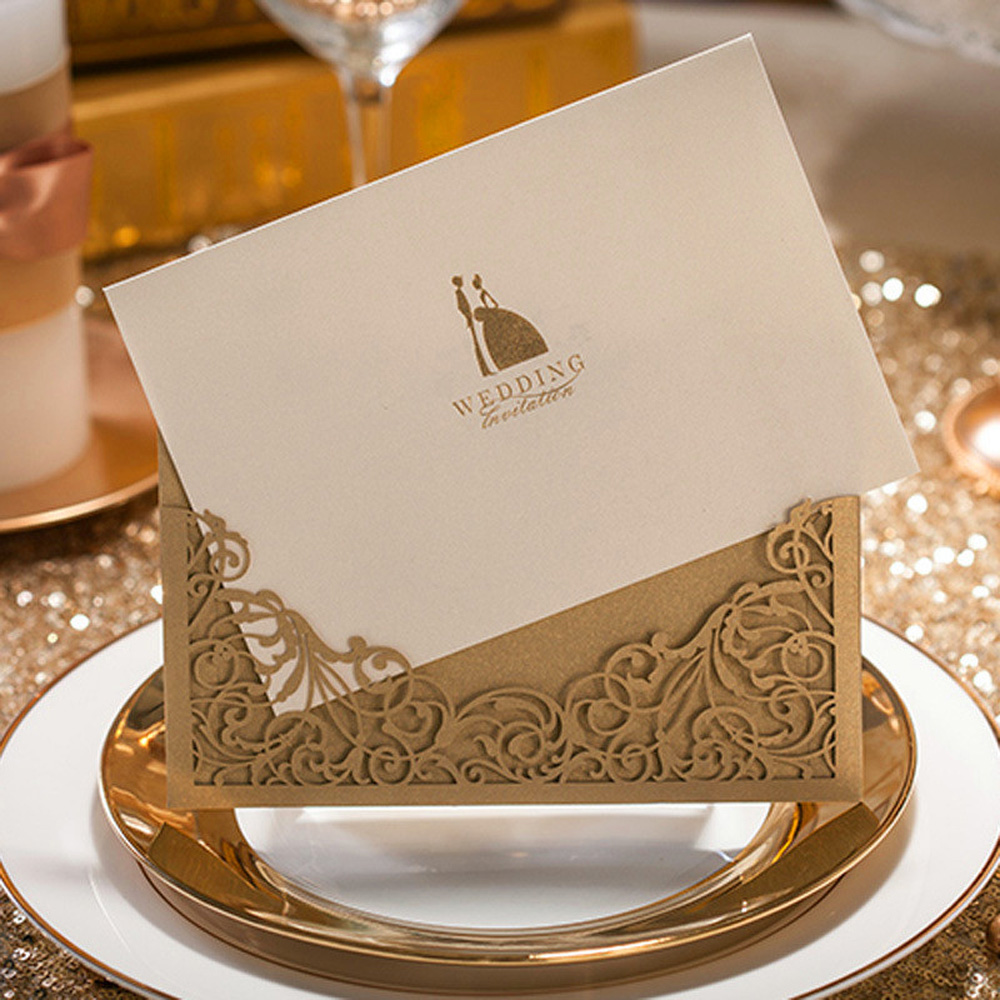 10pcs/lot Luxury Golden Laser Cut Hollow Wedding Invitations Elegant Weeding Invitation Cards Decorations convites de casamento tri folding red white laser cut lace wedding invitations lot paper blank printing invitation cards kit post greeting casamento