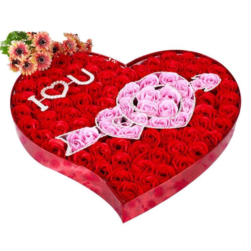 Amour Coeur A Travers Fleur De Savon Boite Cadeau Romantique