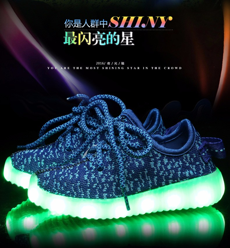 2016 NEW Children Luminous Sneakers USB Charging Kids LED Luminous Shoes Boys Girls of Colorful Flashing Lights Sneakers (2)