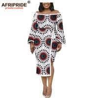 2019 african dresses for women AFRIPRIDE customizedn ankara print flare sleeves mid calf length women wax pencil dress A1925028