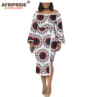 african dresses for women AFRIPRIDE customizedn ankara print flare sleeves mid calf length women wax pencil dress A1925028