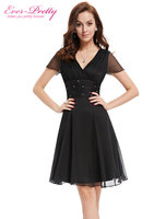 HE03882BK Free Shipping Short Sleeve V Neck Ruched Bust Chiffon Party Dress