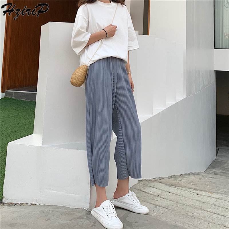 HziriP Summer 2019 Stylish Fashion Simple Elastic Pleated Ankle Length   Pant   Fashion High Waist Loose   Wide     Leg     Pants   7 Colors
