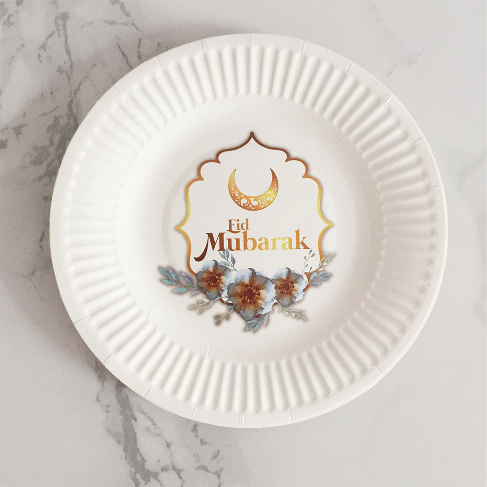 6 Pcs Eid Mubarak Paper Plates Black & Golden Paper Napkins Disposable Tableware Party Plates Celebration Party Supplies