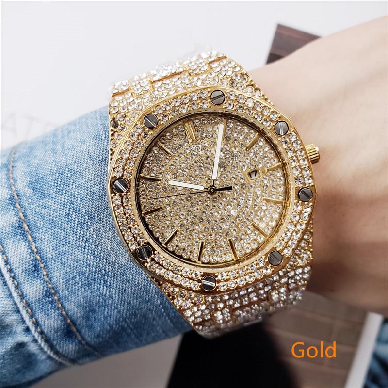 2019 Brand Full Sky Diamond Bracelet Casual Quartz Watch Men's Stainless Steel Dress Watch Relogio Feminino Men's Clock Hot Sale