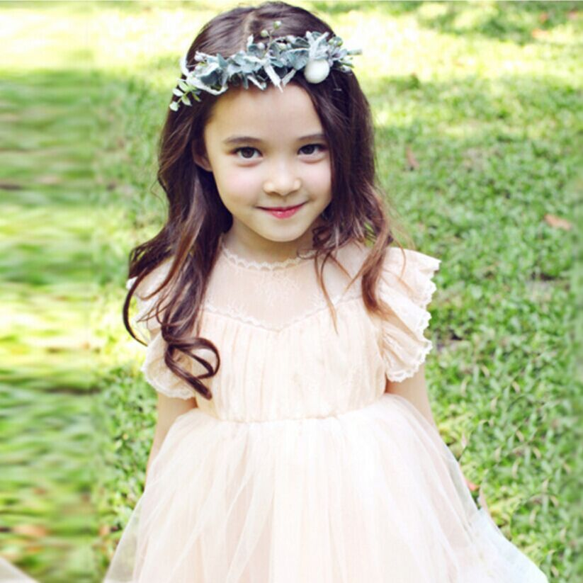 Princess 2017 baby girl dresses with sheer lace Korean style celebrity children girls kids ANGEL'S WINGS Clothes For Age 2-7T