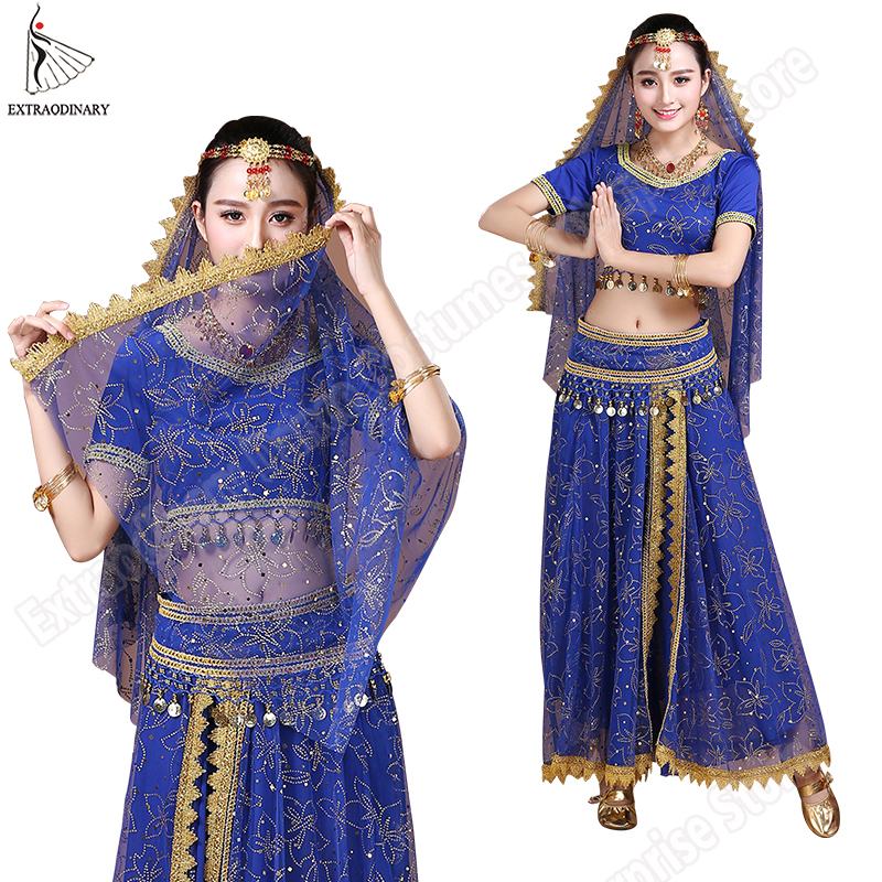 Bollywood Belly Dance Costume Set <font><b>Indian</b></font> Dance <font><b>Sari</b></font> Bellydance <font><b>Skirt</b></font> Suit Women Chiffon 5pcs (Headpieces Veil Top Belt <font><b>Skirt</b></font>) image