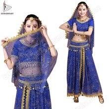 Bollywood Belly Dance ชุดเครื่องแต่งกายเต้นรำอินเดีย Sari Bellydance กระโปรงชุดชีฟองผู้หญิง 5pcs (Headpieces Veil Top เข็มขัดกระโปรง)