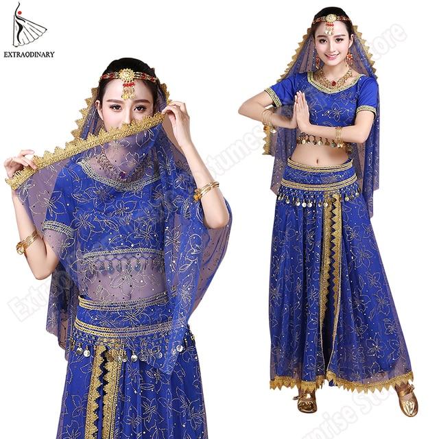 Bollywood Costume di Danza Del Ventre Costume Set Danza Indiana Sari danza del Ventre Vestito di Pannello Esterno Chiffon Delle Donne 5pcs (Copricapo Velo Top Cinghia Della Cinghia pannello esterno)