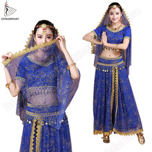 Bollywood Buikdans Kostuum Set Indian Dance Sari Bellydance Rok Pak Vrouwen Chiffon 5pcs (Hoofddeksels Sluier Top Riem rok)(China)