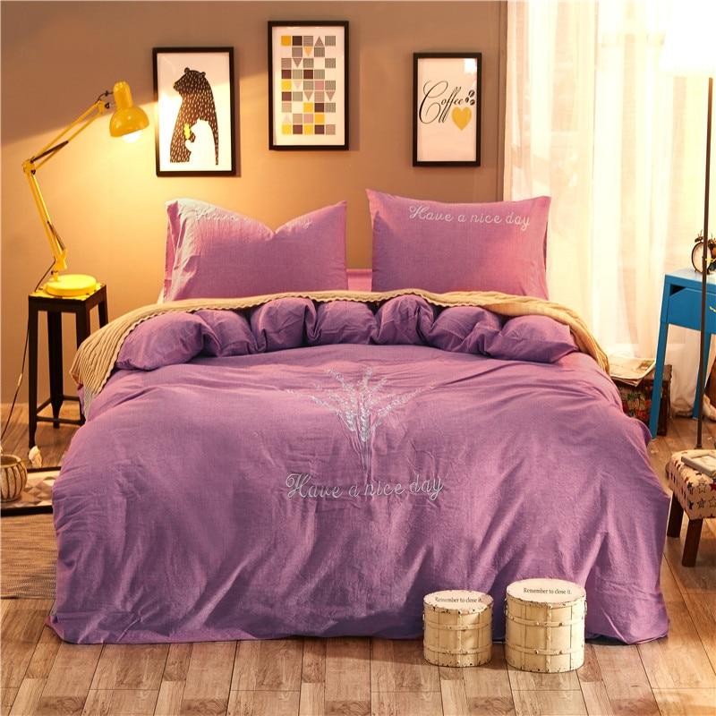 Juego de cama de tamaño Queen King de 4 piezas de bordado verde juego de cama de algodón lavado sábana edredón cubierta/fundas de almohada - 3