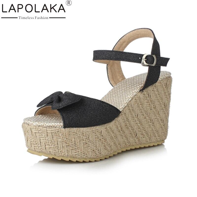LAPOLAKA Nové dámské klíny kotníkový Poutko pro motýlíky - Dámské boty