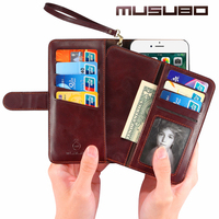 Fashion Wallet Case For IPhone 7 Plus Genuine Leather Cases Luxury Flip Cover Detachable Cover For