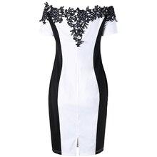 Women Plus Size Floral Decoration Off The Shoulder Pencil large Dress Bandage Evening Party Dress