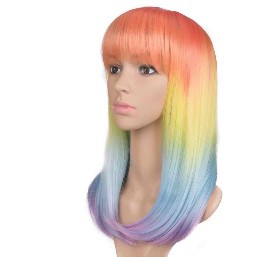 Ombre Long Straight Synthetic Wigs With Bangs 14Inches Natural Rainbow Orange Purple Wigs For Women Heat Resistant Cosplay Wig