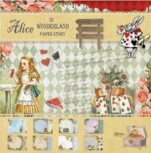 24sheets Alice in Wonderland Designed Pattern Junkjournal Background Paper Pad Cardstock DIY Craft Scrapbooking Paper Pack