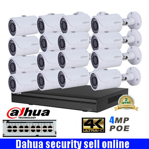 Dahua mutil language 16ch 4MP H.265 4K POE Network CCTV IP camera System with DAHUA DH-IPC-HFW1431S 4MP HD Bullet IR IP Camera free shipping dahua cctv camera 4k 8mp wdr ir mini bullet network camera ip67 with poe without logo ipc hfw4831e se