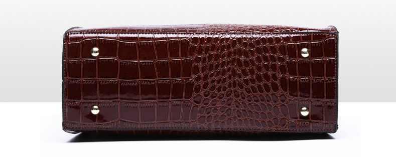 2019 תנין נשים Tote אמיתי פטנט עור תיק יוקרה מעצב גבירותיי תנין תיקי רטרו כתף ארנק דפוס C824