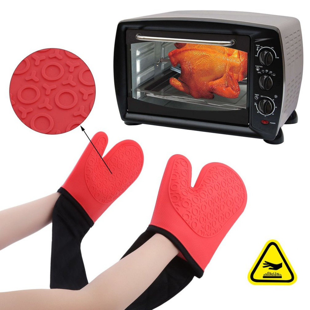 Anti-Slip Silicone Double Oven Gloves Heat Proof Resistant Cooking Mitt Kitchen Microwave Oven Mitt High Temperature Gloves все цены
