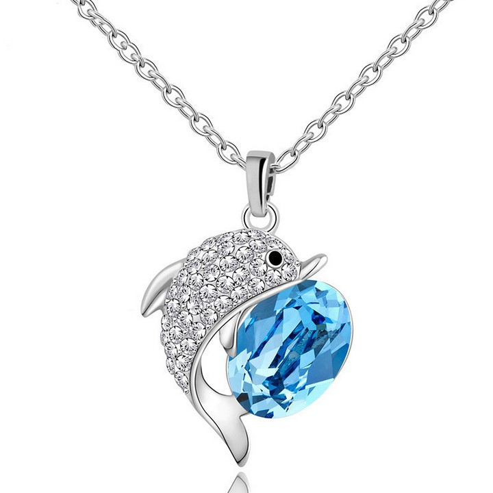 New Arrival Fashion Big Rhinestone Crystal Blue Dolphin Pendant Necklace For Women Cute Sweet Beautiful Animal Jewelry Gift