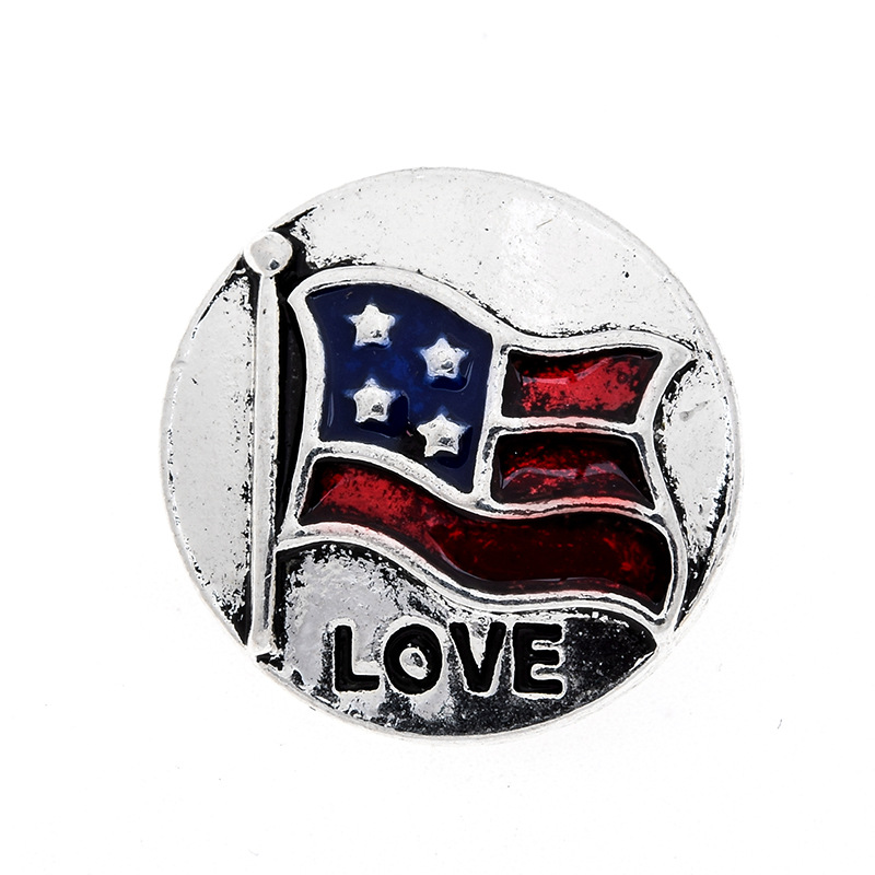 NEW 10pcslot Metal Snaps 18mm Love U.S Flag Buttons Fit Snap Leather Bracelet Jewelry Findings