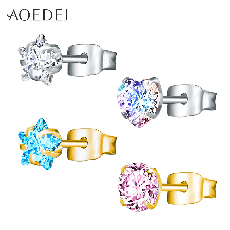 AOEDEJ 3-8mm Gold Color Star Earrings Stud Stainless Steel Stud Crystal Earrings Pink For Women Girls Heart Earrings Colored
