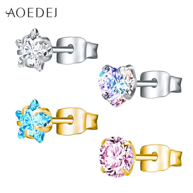Aoedej 3 8mm Gold Color Star Earrings Stud Stainless Steel Crystal Pink For