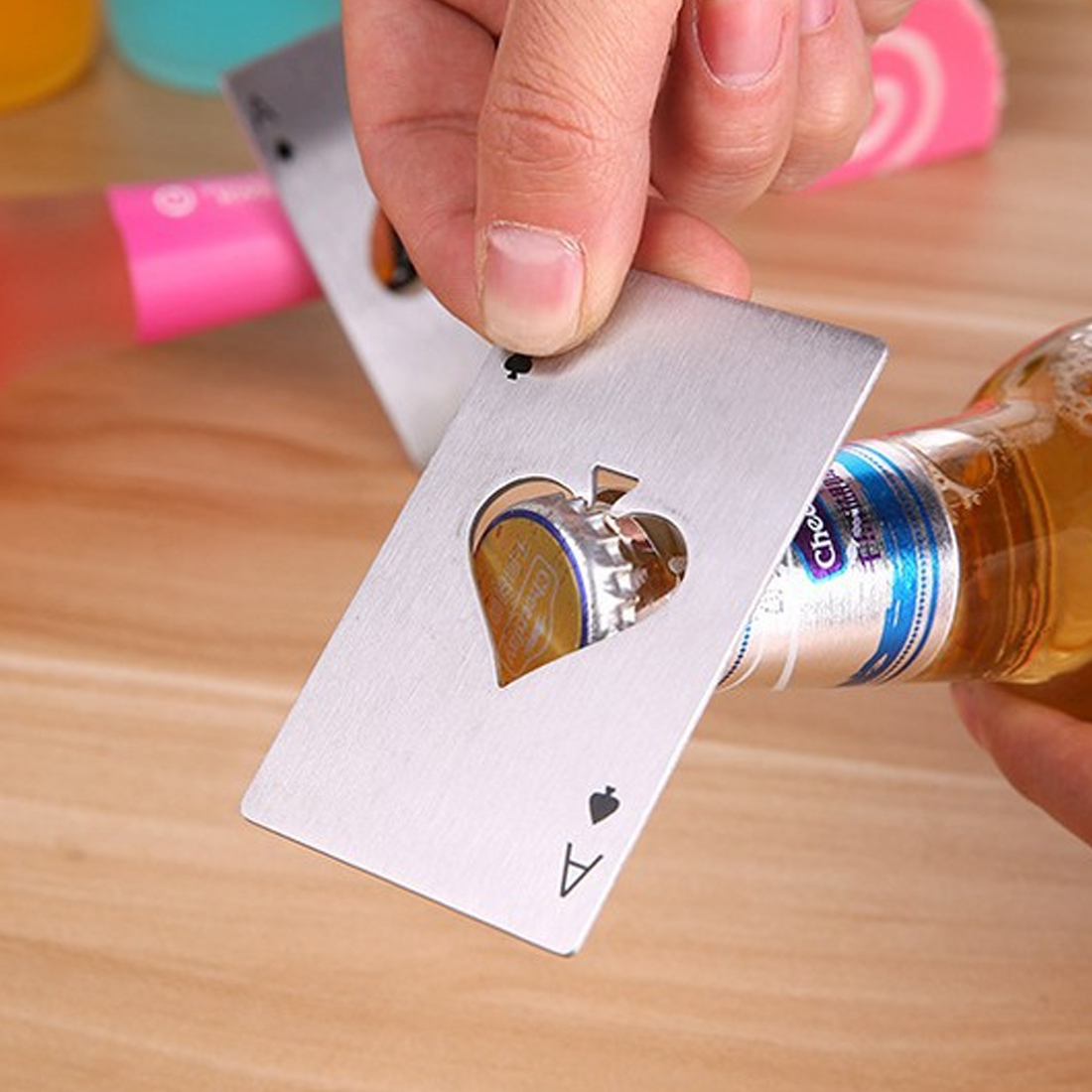 1pc New Stylish Poker Playing Card A of Spades Bar Tool Soda Beer Bottle Cap Opener High Quality