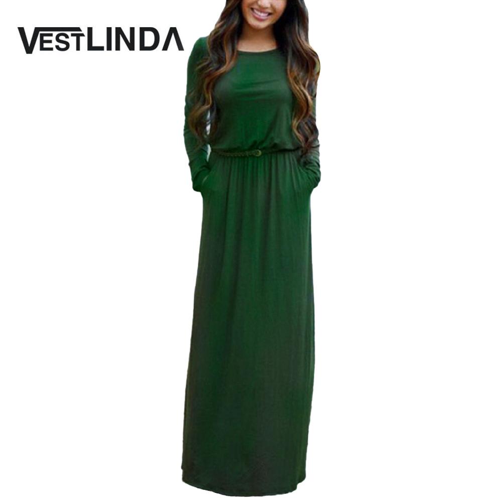 VESTLINDA Vintage Vestidos Longo Jurken Women Maxi Dress Full Sleeve Casual Dress Autumn A Line Solid Ropa Mujer Long Dress 1
