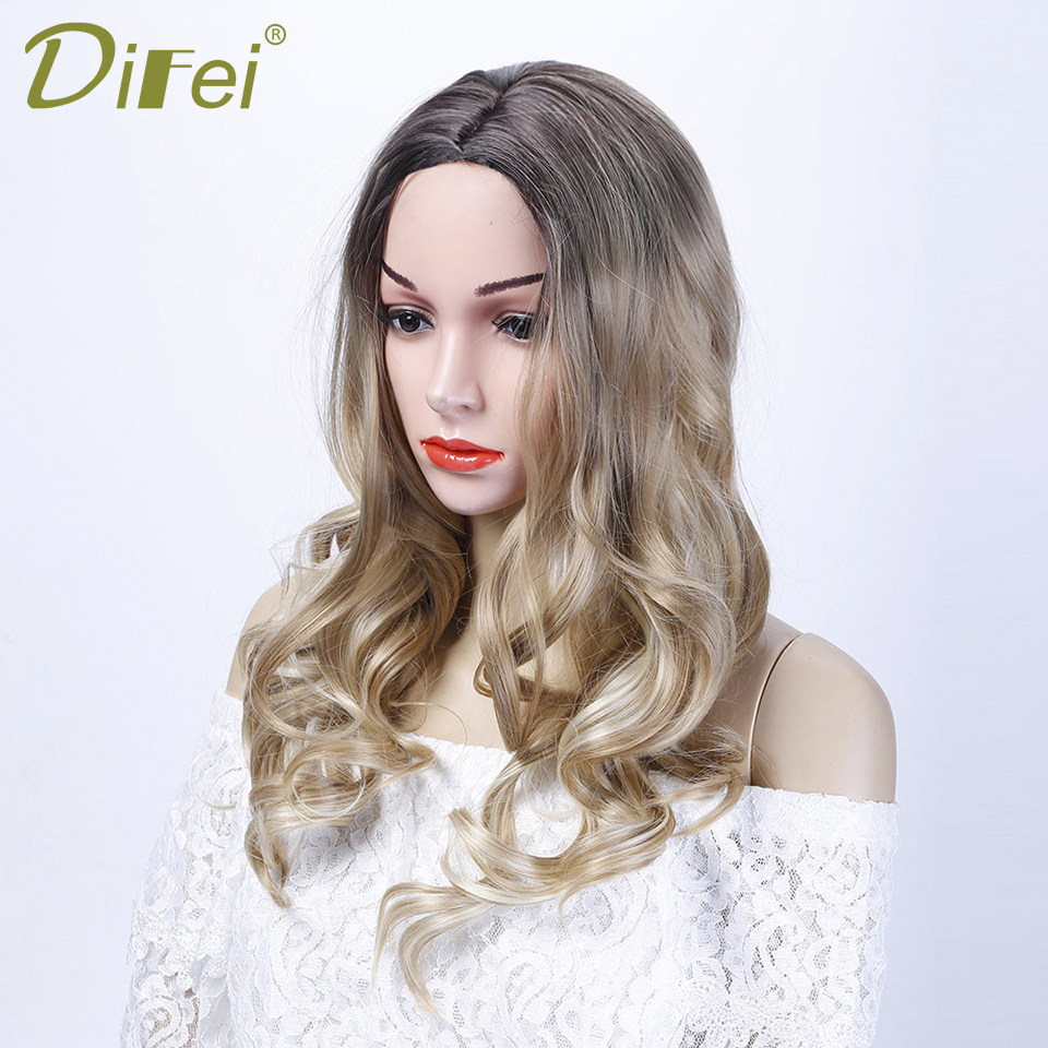 DIFEI Long Wavy Gradient Black Brown Wig Costume Party Heat-Resistant Synthetic Synthetic Hair Female Cospaly Wig ...