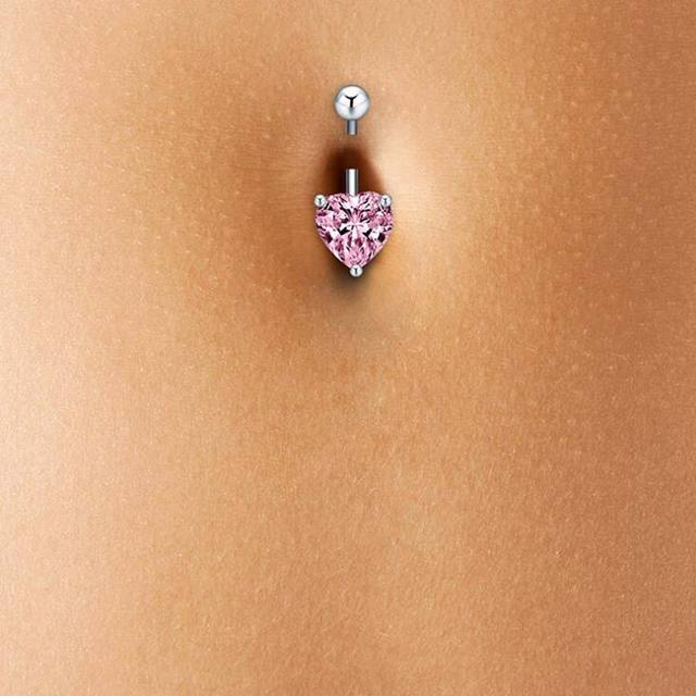 Sexy Rhinestone Heart Belly Button Ring