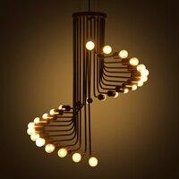 Промышленные Стиль лестница спираль подвесной светильник для Обеденная современный Лофт черный кулон Лампы для мотоциклов Бар Ресторан св