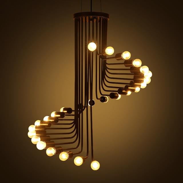 industri le stijl trap spiraal hanglamp voor eetkamer moderne loft zwarte hanger lampen bar. Black Bedroom Furniture Sets. Home Design Ideas